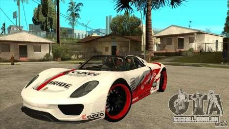 Porsche 918 Spyder Consept para GTA San Andreas