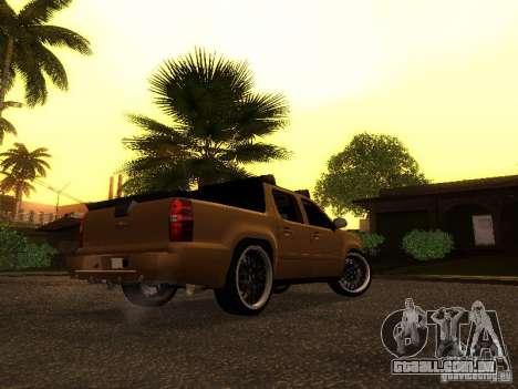 Chevrolet Avalanche Tuning para GTA San Andreas traseira esquerda vista