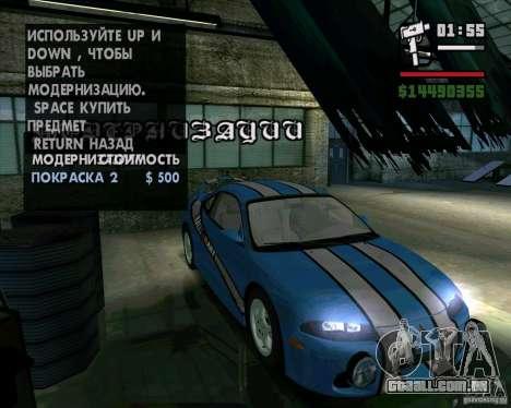 Mitsubishi Eclipse GST para GTA San Andreas vista direita