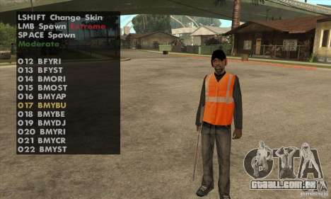 Skin Selector v2.1 para GTA San Andreas terceira tela