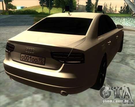 Audi A8 2010 v2.0 para GTA San Andreas vista traseira