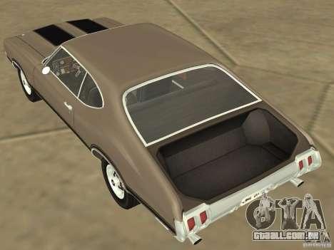 Oldsmobile 442 Cutlass 1970 para GTA San Andreas vista interior
