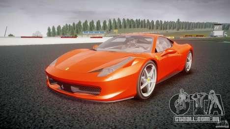 Ferrari 458 Italia 2010 para GTA 4 vista de volta