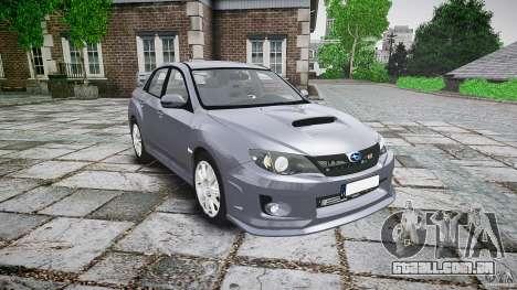 Subaru Impreza WRX 2011 para GTA 4 vista de volta