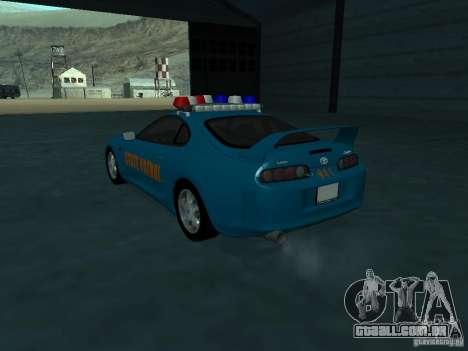 Toyota Supra California State Patrol para GTA San Andreas traseira esquerda vista