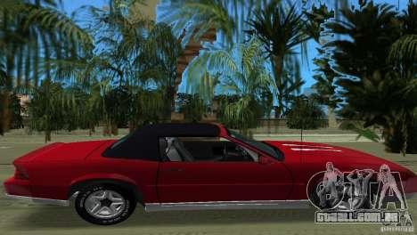 Chevrolet Camaro Convertible 1986 para GTA Vice City vista traseira