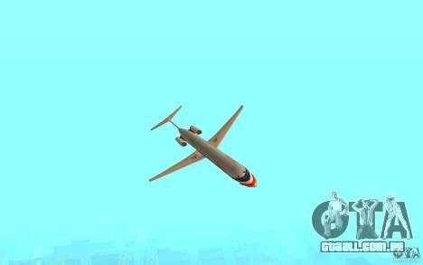 McDonnell Doeuglas MD-80 para GTA San Andreas traseira esquerda vista