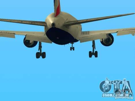 Boeing 767-300 British Airways para GTA San Andreas vista inferior