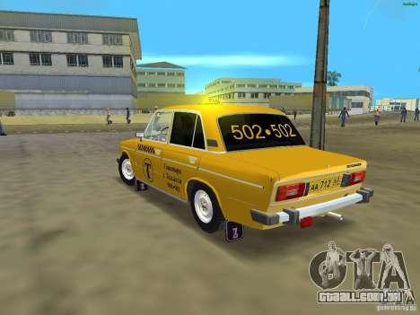 VAZ 2106 táxi v 2.0 para GTA Vice City vista traseira esquerda