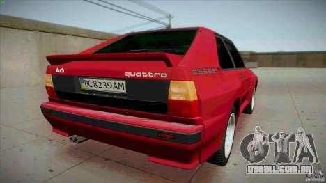 Audi Sport quattro 1983 para GTA San Andreas traseira esquerda vista