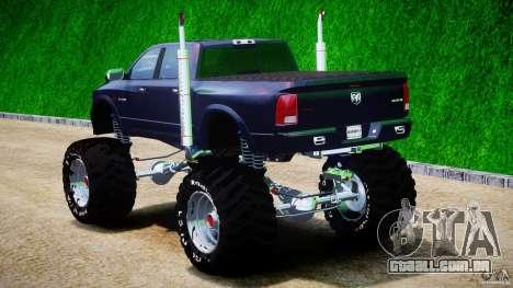 Dodge Ram 3500 2010 Monster Bigfut para GTA 4 traseira esquerda vista