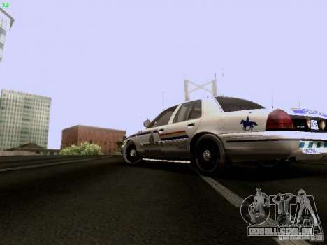 Ford Crown Victoria Canadian Mounted Police para GTA San Andreas esquerda vista