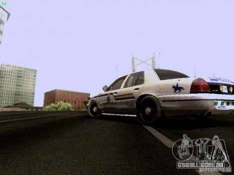 Ford Crown Victoria Canadian Mounted Police para GTA San Andreas esquerda vista