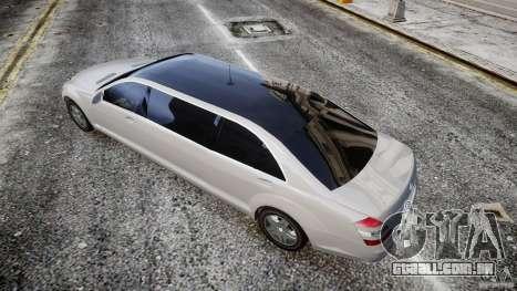 Mercedes-Benz S600 Guard Pullman 2008 para GTA 4 traseira esquerda vista