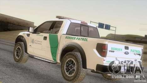 Ford Raptor para GTA San Andreas traseira esquerda vista