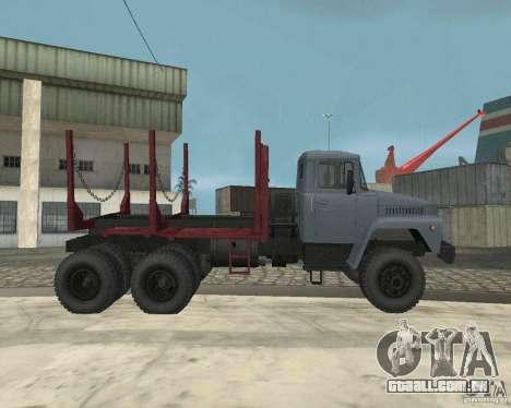 Transportador de madeira KrAZ-255 para GTA San Andreas vista interior