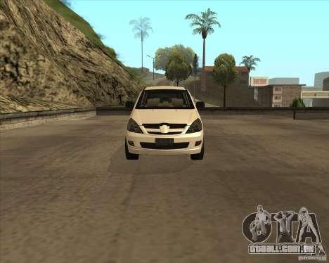 Toyota Innova para GTA San Andreas vista interior