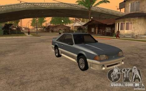 Ford Mustang GT 5.0 1993 para GTA San Andreas vista traseira