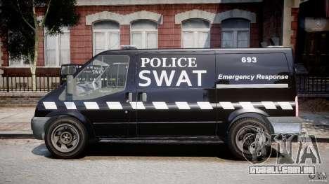 Ford Transit SWAT [ELS] para GTA 4 esquerda vista