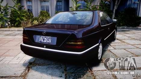 Mercedes-Benz 600SEC C140 1992 v1.0 para GTA 4 traseira esquerda vista