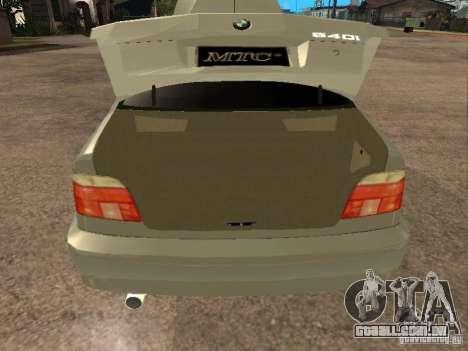 BMW 540i para GTA San Andreas vista traseira