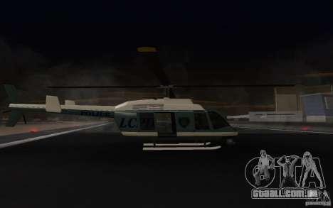 GTA IV Police Maverick para GTA San Andreas traseira esquerda vista