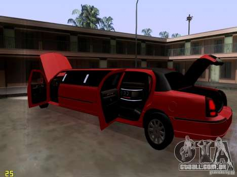 Lincoln Towncar 2010 para vista lateral GTA San Andreas