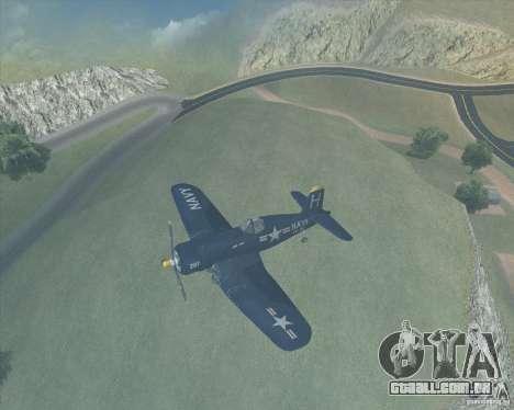Aereo Corsair F4U1D para GTA San Andreas esquerda vista