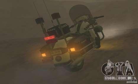 Motocicleta de polícia de GTA TBoGT para GTA San Andreas traseira esquerda vista