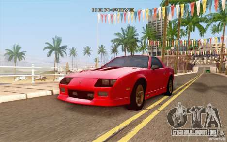 Chevrolet Camaro Z28 Targa Top 1986 para vista lateral GTA San Andreas