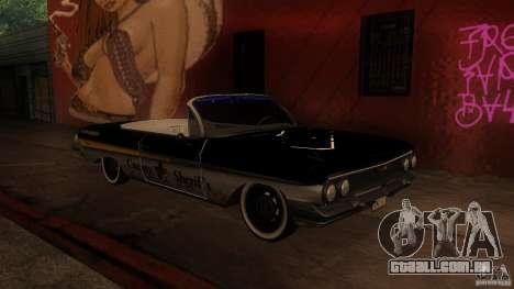Chevy Impala SS 1961 para GTA San Andreas traseira esquerda vista
