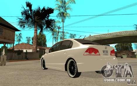 Honda Civic FD para GTA San Andreas traseira esquerda vista