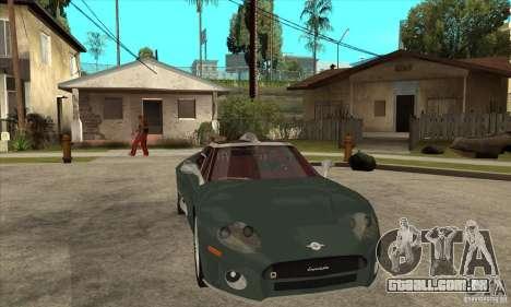 Spyker C8 Laviolete para GTA San Andreas vista interior