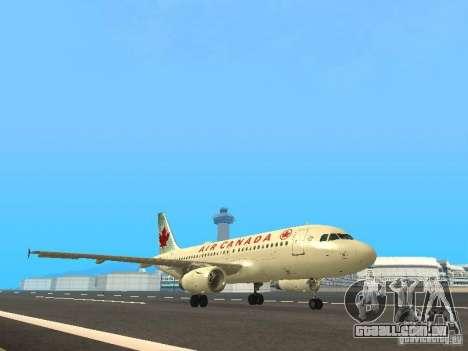 Airbus A319 Air Canada para GTA San Andreas esquerda vista