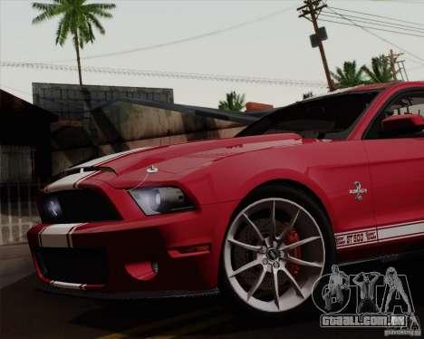 Ford Shelby GT500 Super Snake 2011 para GTA San Andreas traseira esquerda vista