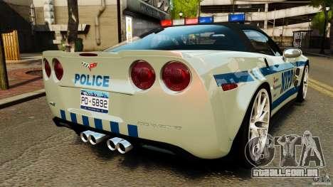 Chevrolet Corvette ZR1 Police para GTA 4 traseira esquerda vista