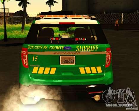 Ford Explorer 2011 VCPD Police para GTA San Andreas traseira esquerda vista