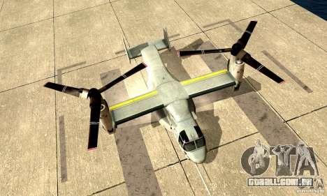 MV-22 Osprey para GTA San Andreas traseira esquerda vista
