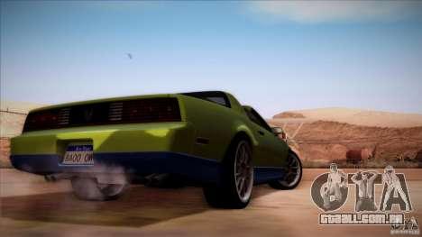 Pontiac Firebird Trans Am para GTA San Andreas vista direita
