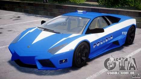 Lamborghini Reventon Polizia Italiana para GTA 4 vista superior