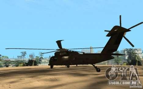 UH-60 Silent Hawk para GTA San Andreas traseira esquerda vista