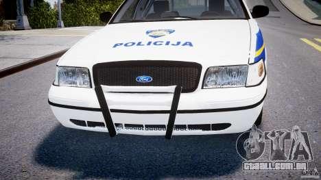 Ford Crown Victoria Croatian Police Unit para GTA 4 vista inferior