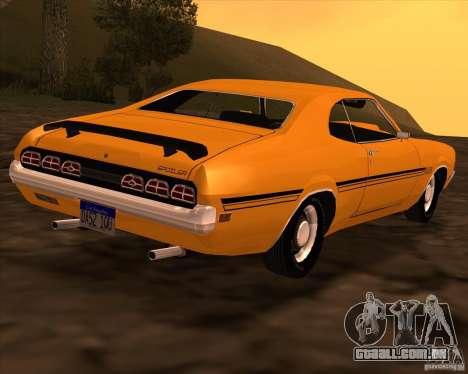 Mercury Cyclone Spoiler 1970 para GTA San Andreas vista traseira
