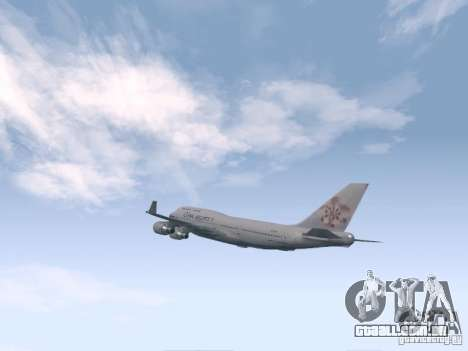 Boeing 747-400 China Airlines para GTA San Andreas vista direita