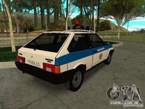 VAZ 2108 polícia para GTA San Andreas traseira esquerda vista