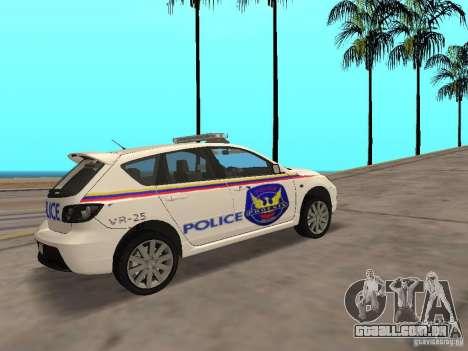 Mazda 3 Police para GTA San Andreas traseira esquerda vista