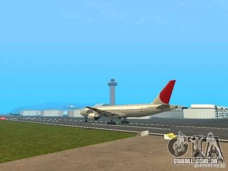 Boeing 777-200 Japan Airlines para GTA San Andreas vista direita