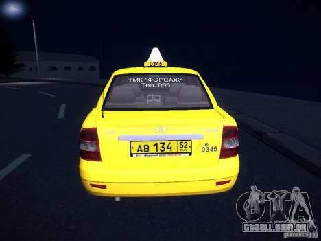 LADA Priora 2170 táxi TMK Afterburner para vista lateral GTA San Andreas