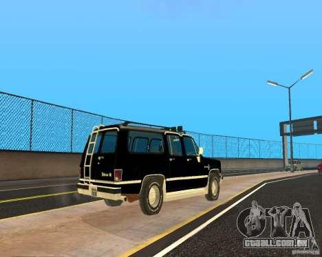 Сhevrolet 1986 Suburban para GTA San Andreas traseira esquerda vista
