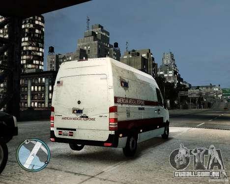 Mercedes Benz Sprinter American Medical Response para GTA 4 vista de volta